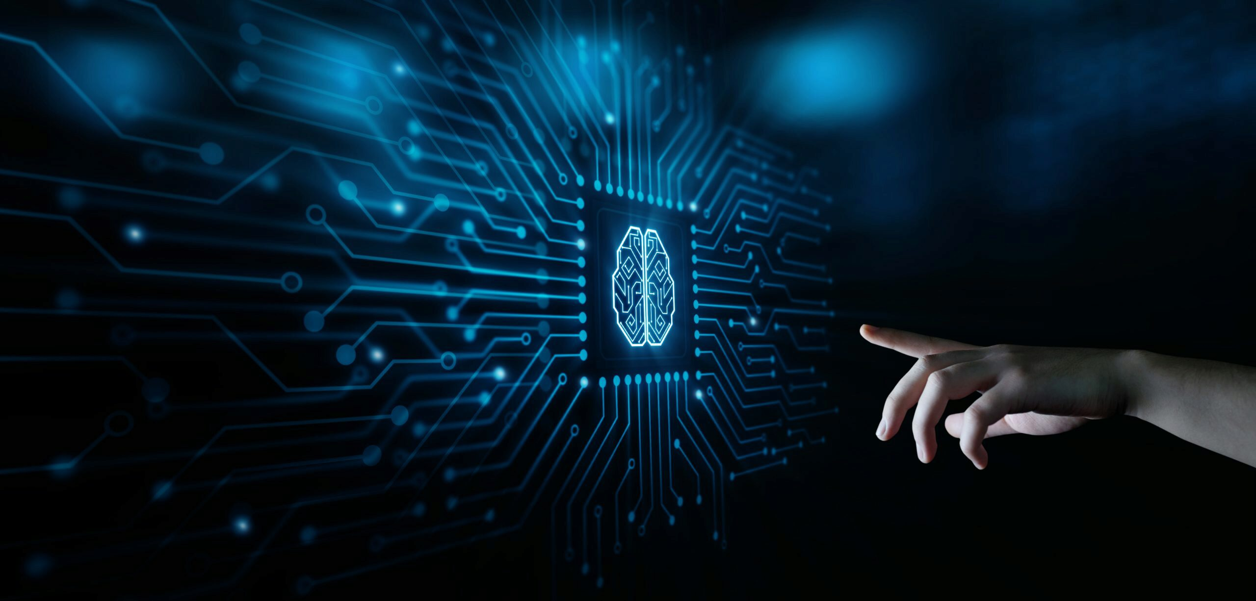Hand reaching out to AI brain graphic